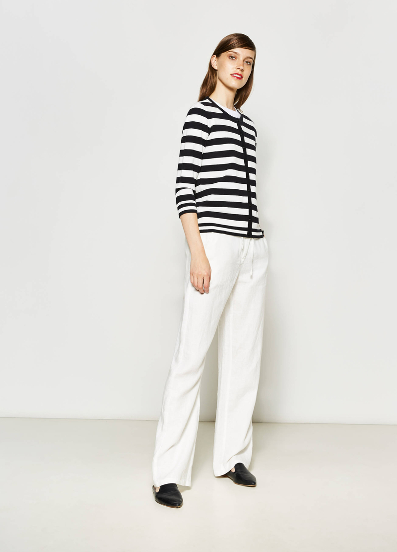 Cotton blend striped cardigan image number null