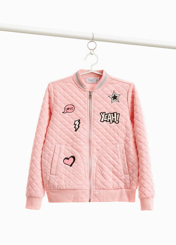 Stretch quilted bomber jacket with patches
