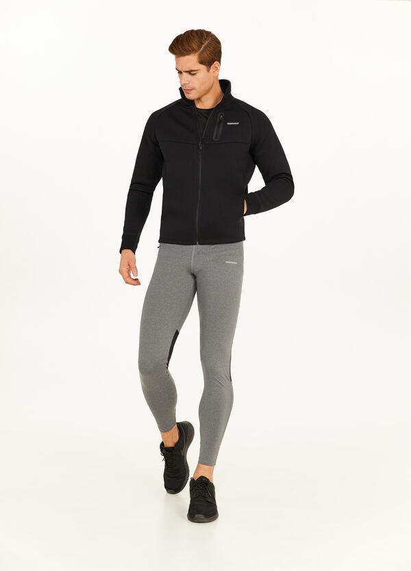 Leggings a tre quarti stretch con zip