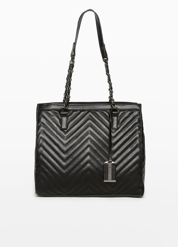 Shoulder bag with striped wavy weave