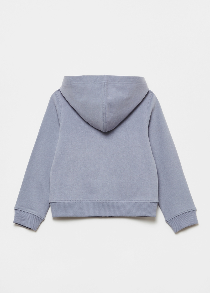 Full-zip cotton sweatshirt with hood and pockets image number null