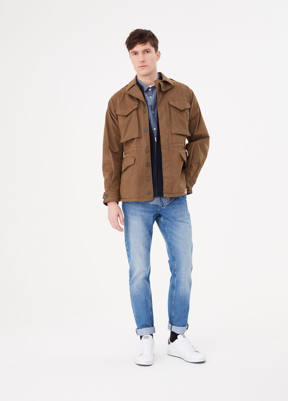 Stretch cotton jacket with pockets