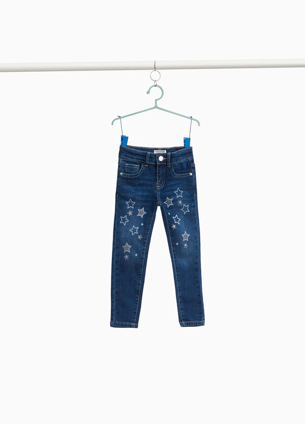 Jeans with star print and diamantés