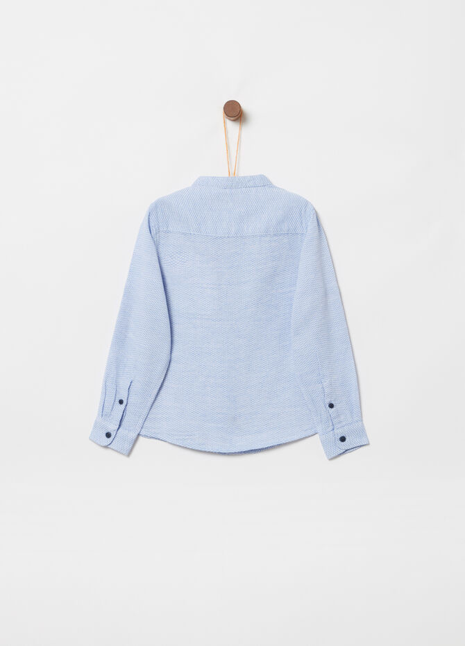 Cotton jacquard shirt with pocket