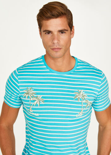 Striped 100% cotton T-shirt with print