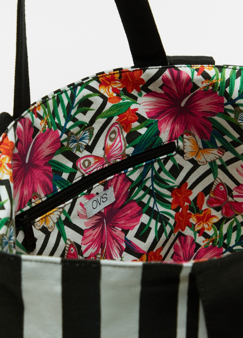 Beach bag in cotton with pattern image number null
