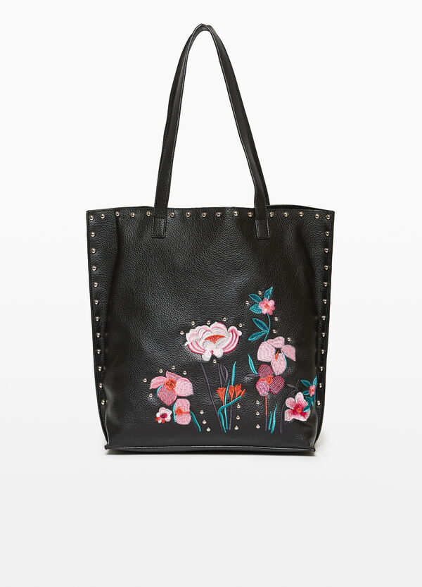 Textured shopping bag with embroidery