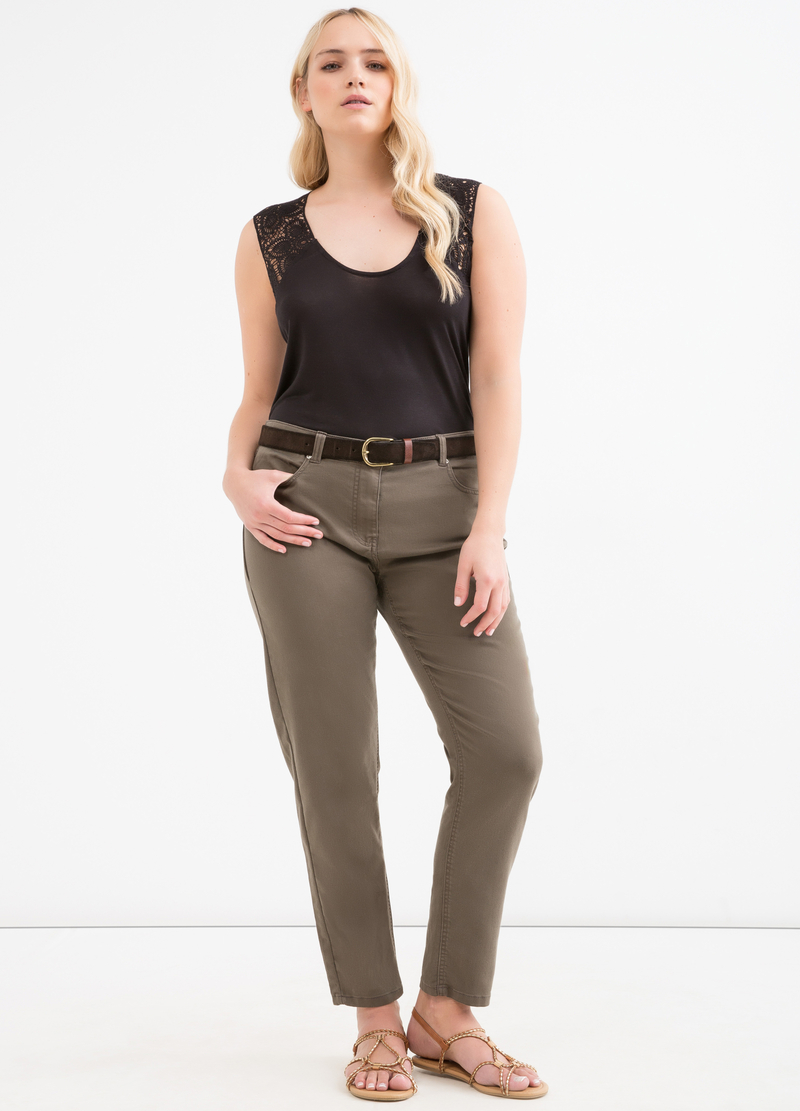 Curvy plain stretch jeggings image number null