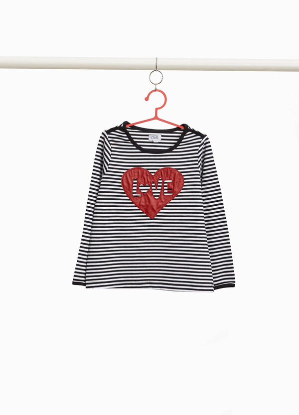 Striped T-shirt with heart-shaped patches