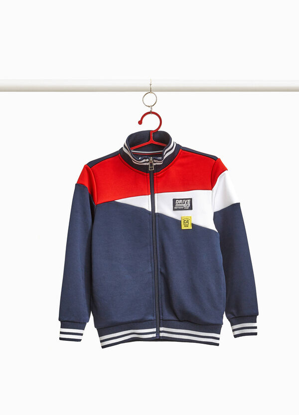 Sweatshirt with high neck and patch