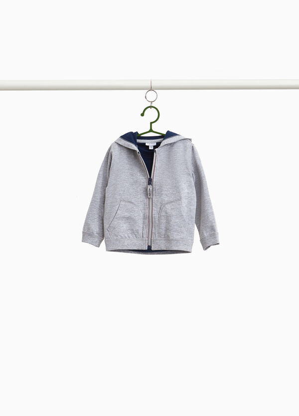 Solid colour T-shirt and sweatshirt set