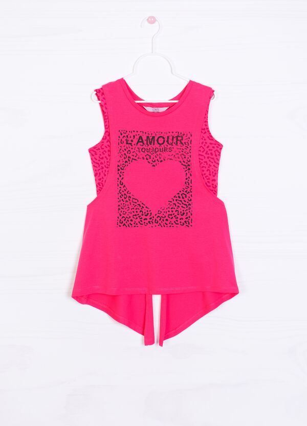 Top and vest set with print