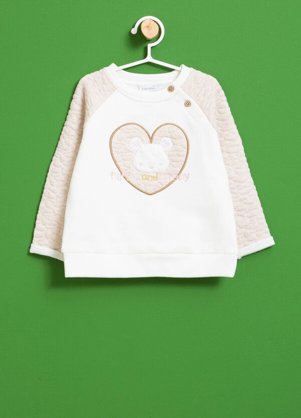Stretch cotton sweatshirt with patches and embroidery | OVS