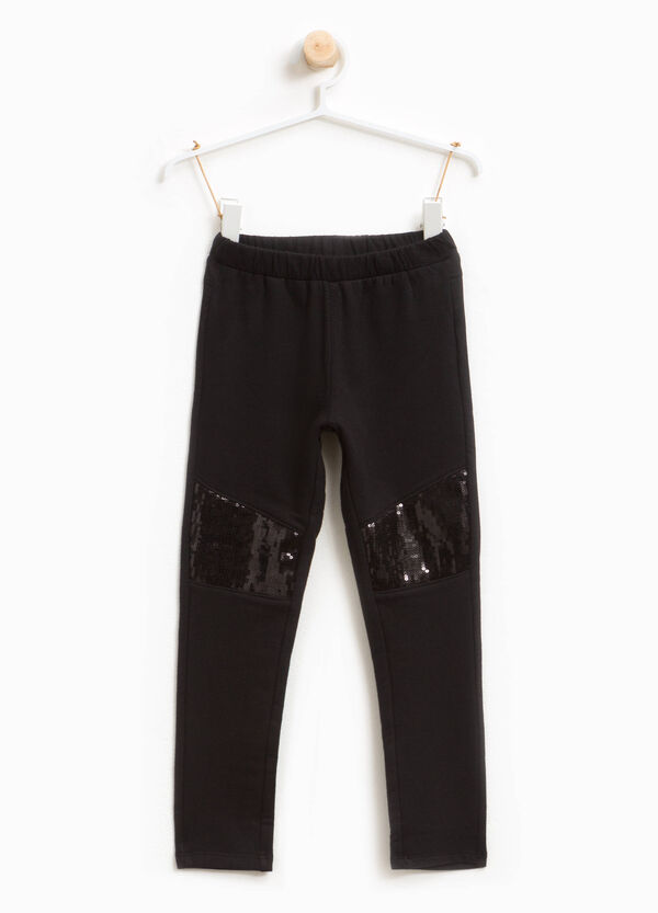 Stretch cotton trousers with sequins | OVS