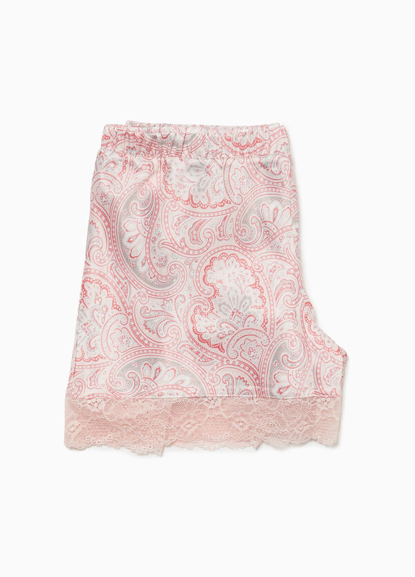 Paisley pyjama shorts with lace