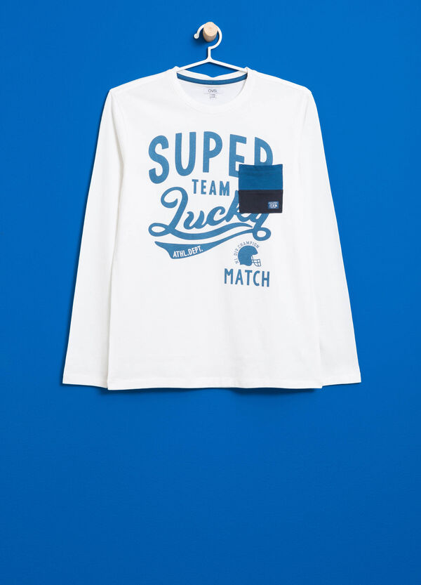 T-shirt in puro cotone stampa lettering