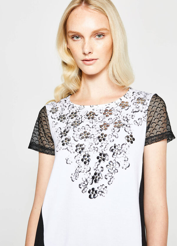 Two-tone T-shirt with lace sleeves   OVS