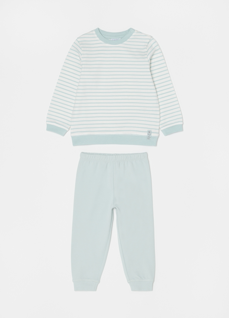 100% cotton pyjamas with stripes and round neck image number null