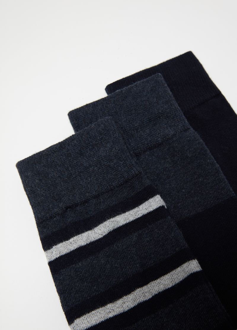 3-pack warm socks in cotton jacquard image number null