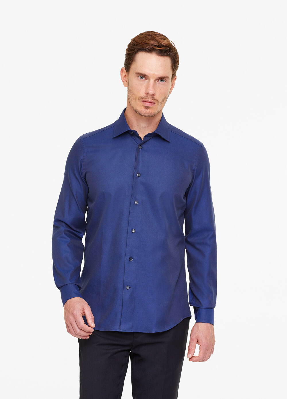 Camicia slim fit con trama a righe