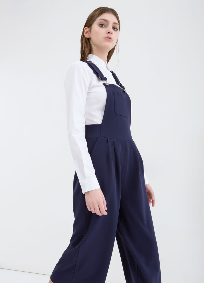 Stretch, wide-leg dungarees