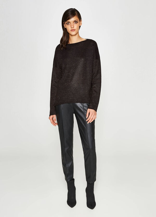 Knit pullover with lurex and batwing sleeves | OVS