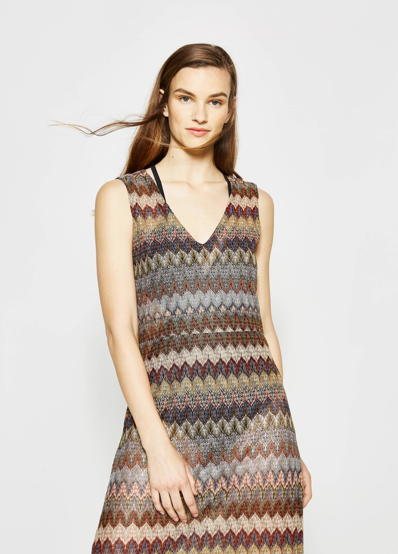 Long patterned sleeveless dress image number null