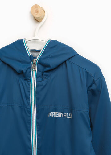 Jacket with hood and printed lettering