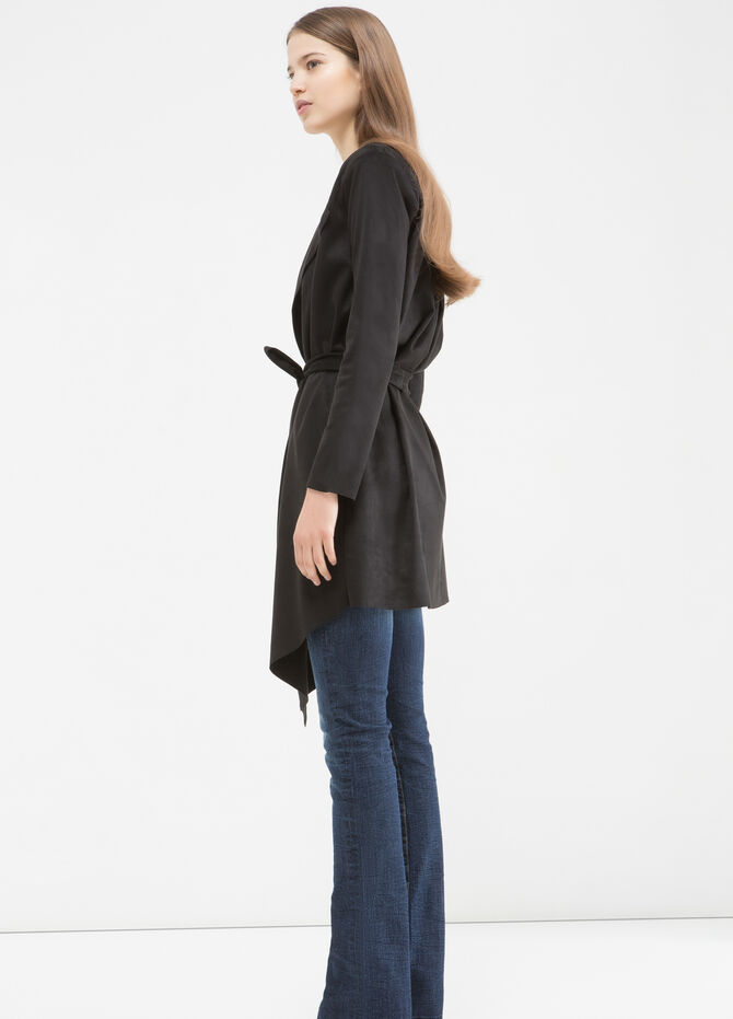 Stretch suede trench coat