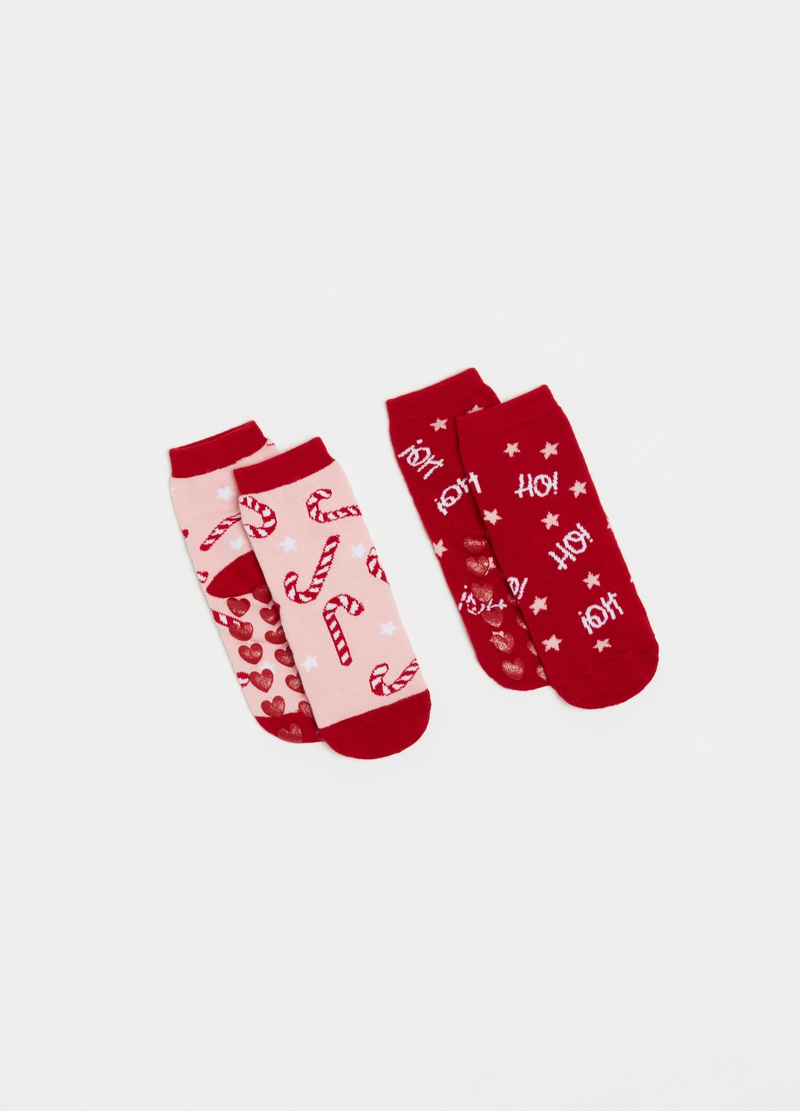 Two-pair pack slipper socks with Christmas pattern image number null