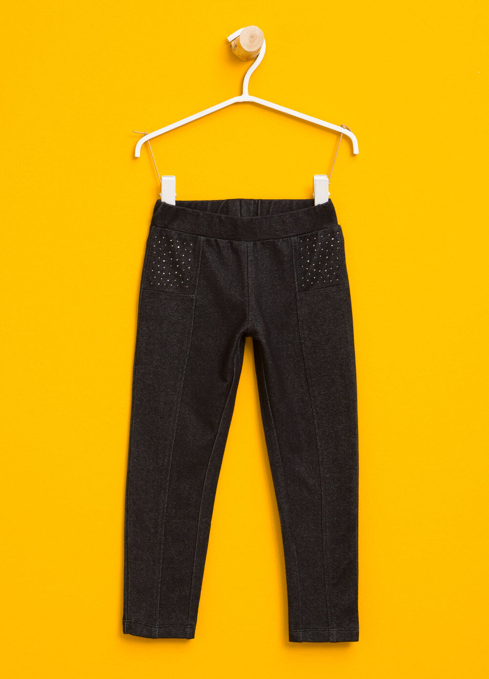 Stretch cotton trousers with diamantés