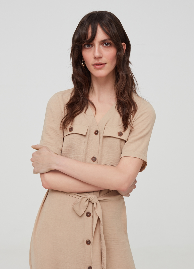 Shirt dress with belt and pockets image number null