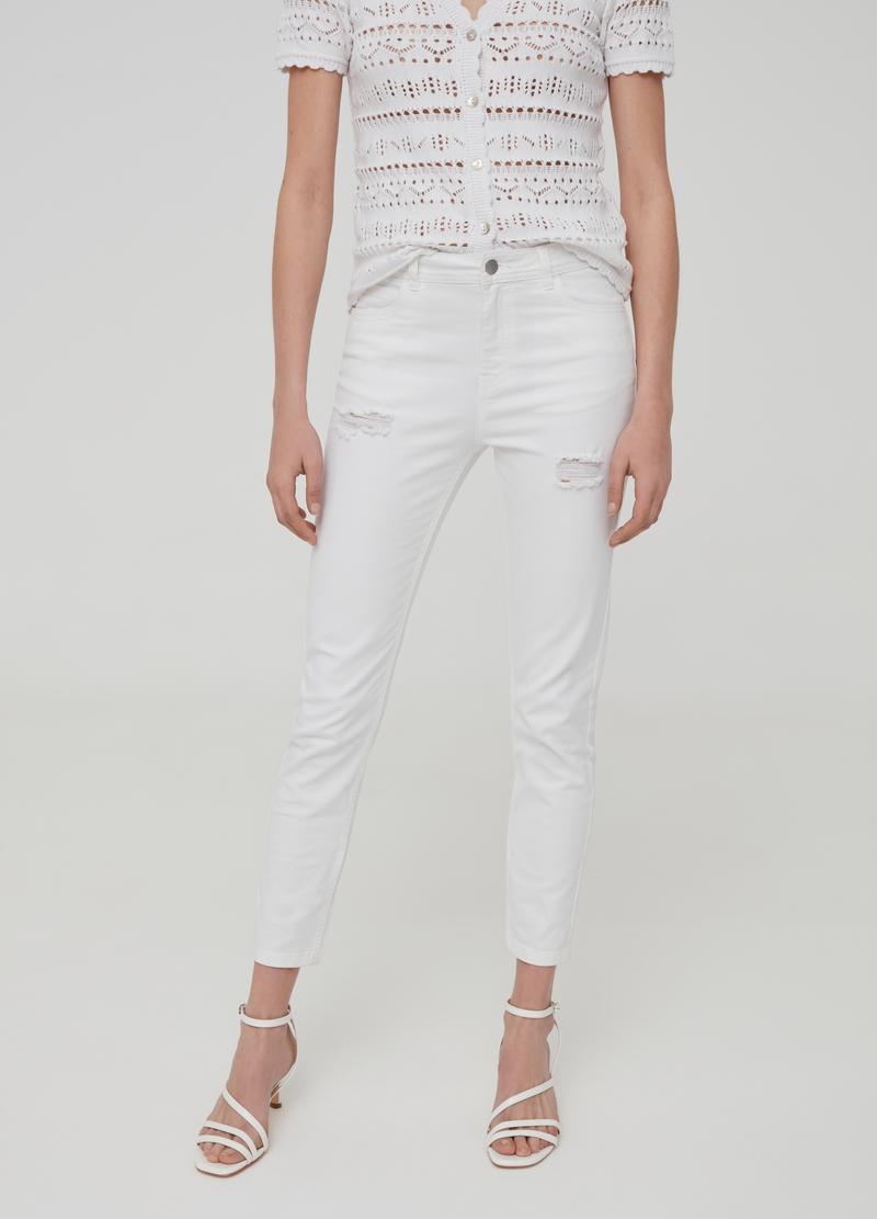 Solid colour skinny-fit cropped jeans image number null