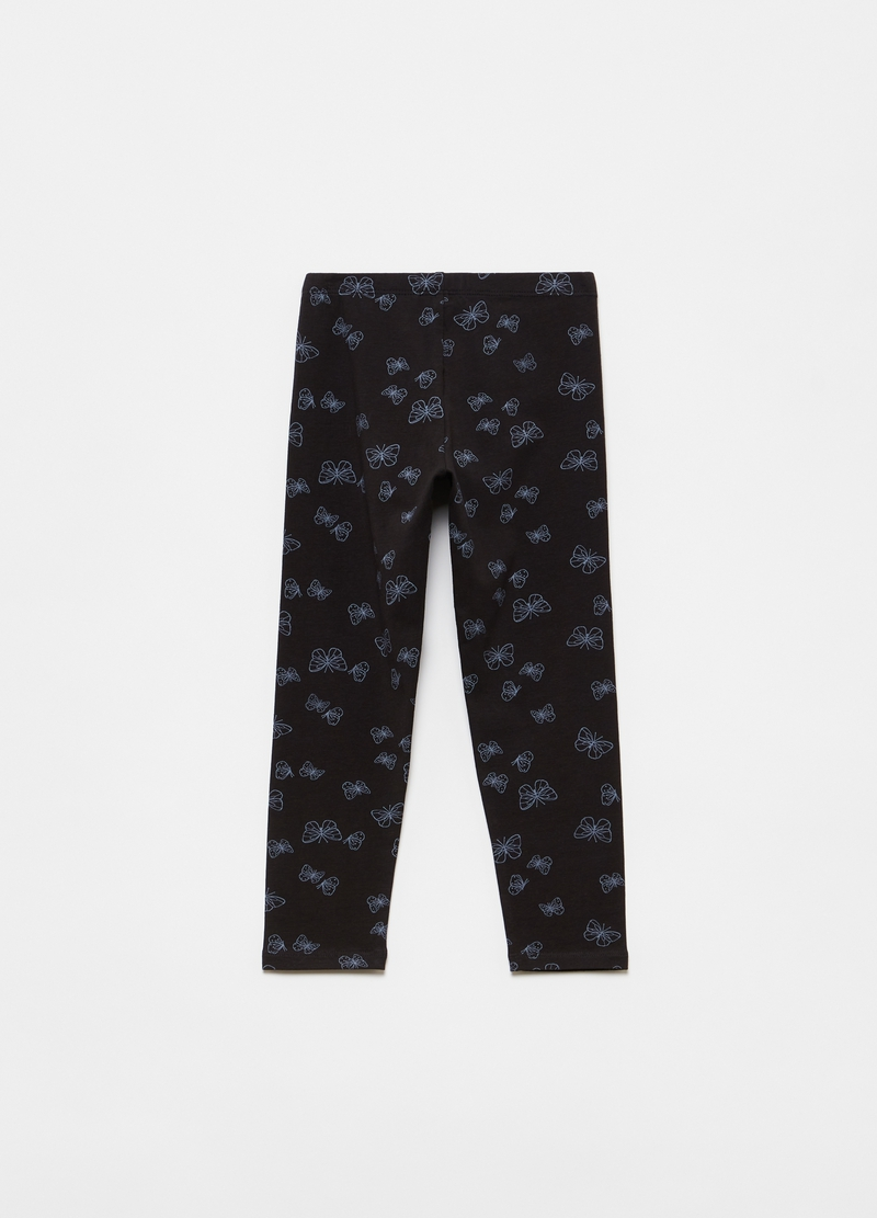 Stretch cotton leggings with butterfly print image number null