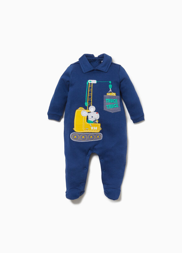 Cotton onesie with crane with mouse patch