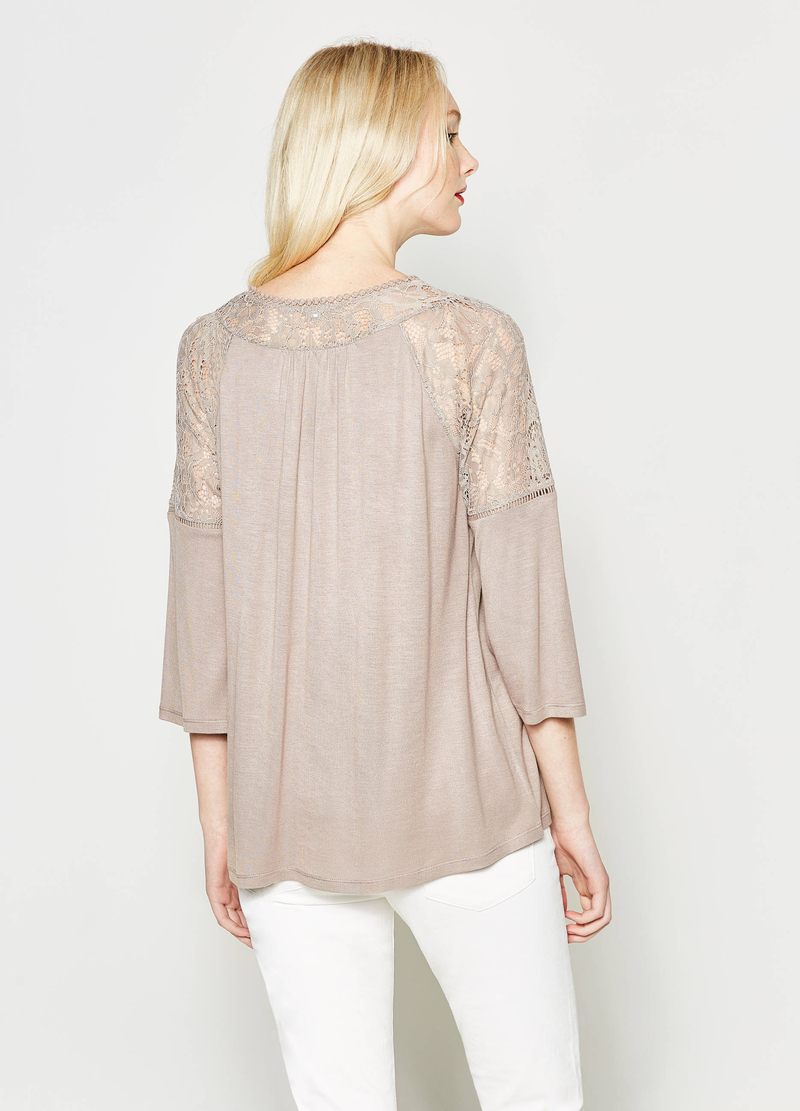 T-shirt with lace inserts image number null