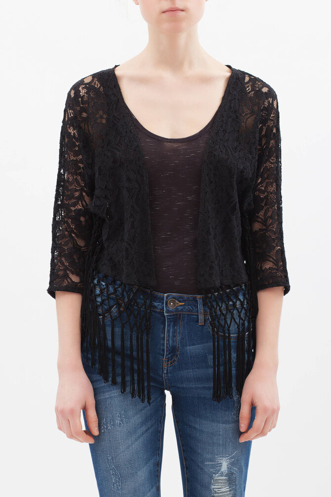 Lace shrug with fringe