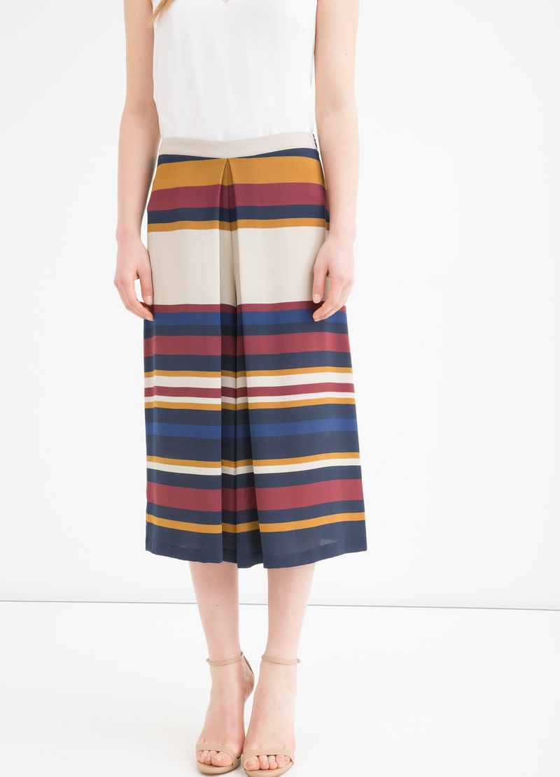 Gonna pantalone stretch rigata image number null
