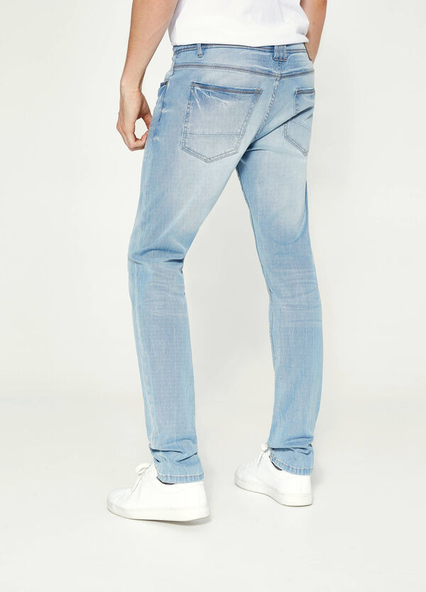 Jeans skinny stretch con scoloriture | OVS
