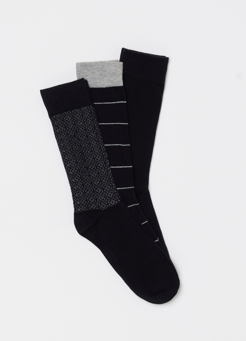 Three-pack socks with pattern image number null