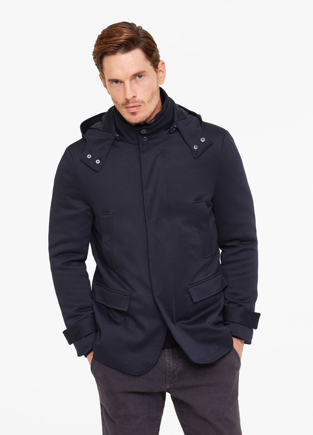 Solid colour large jacket with hood