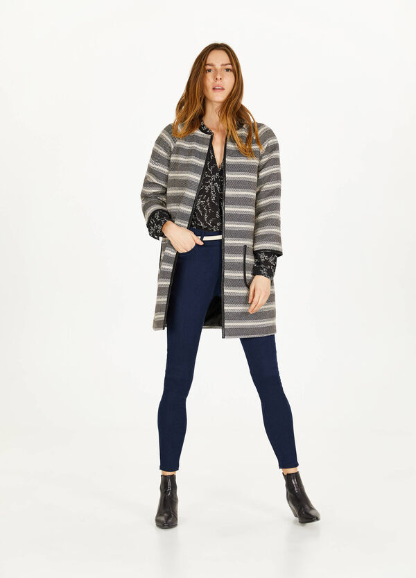 Striped viscose blend coat