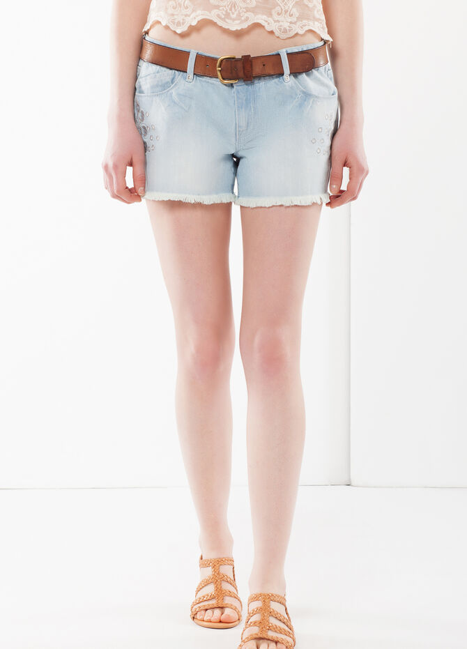 Laser cut embroidered denim shorts