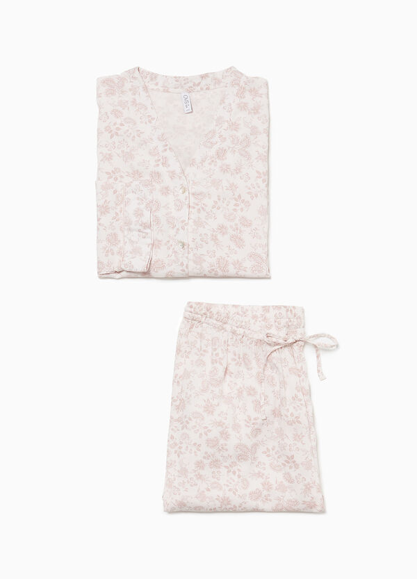 Viscose pyjamas with floral buttons