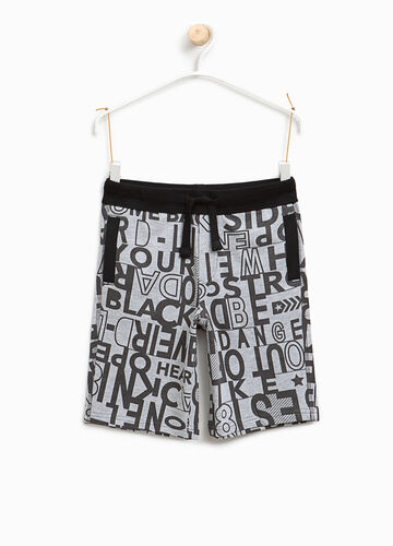 Lettering pattern cotton Bermuda shorts