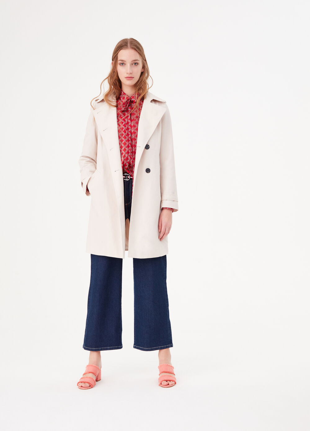 Double-breasted trench coat in cotton blend