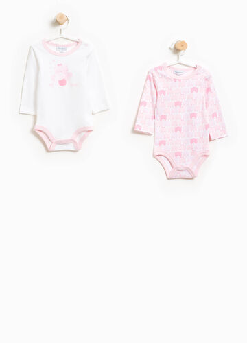 Two-pack patterned bodysuits in 100% cotton