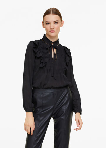 Solid colour blouse with jewel edging