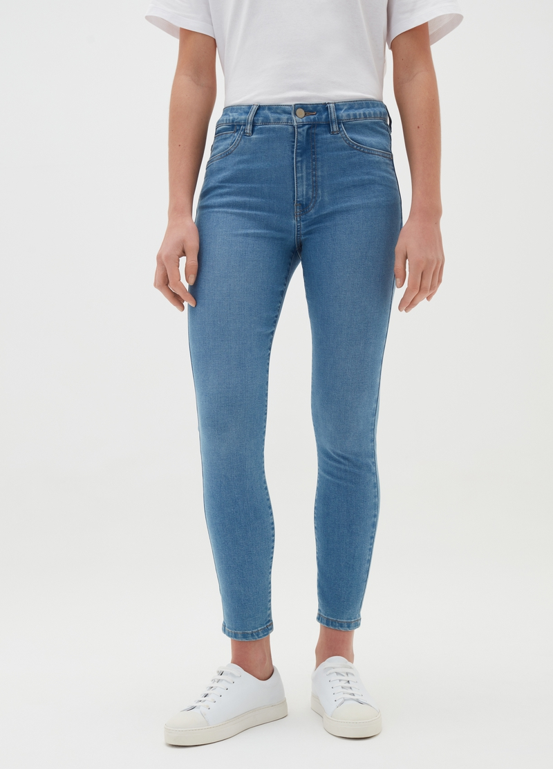 Skinny-fit jeans in stretch viscose and cotton image number null