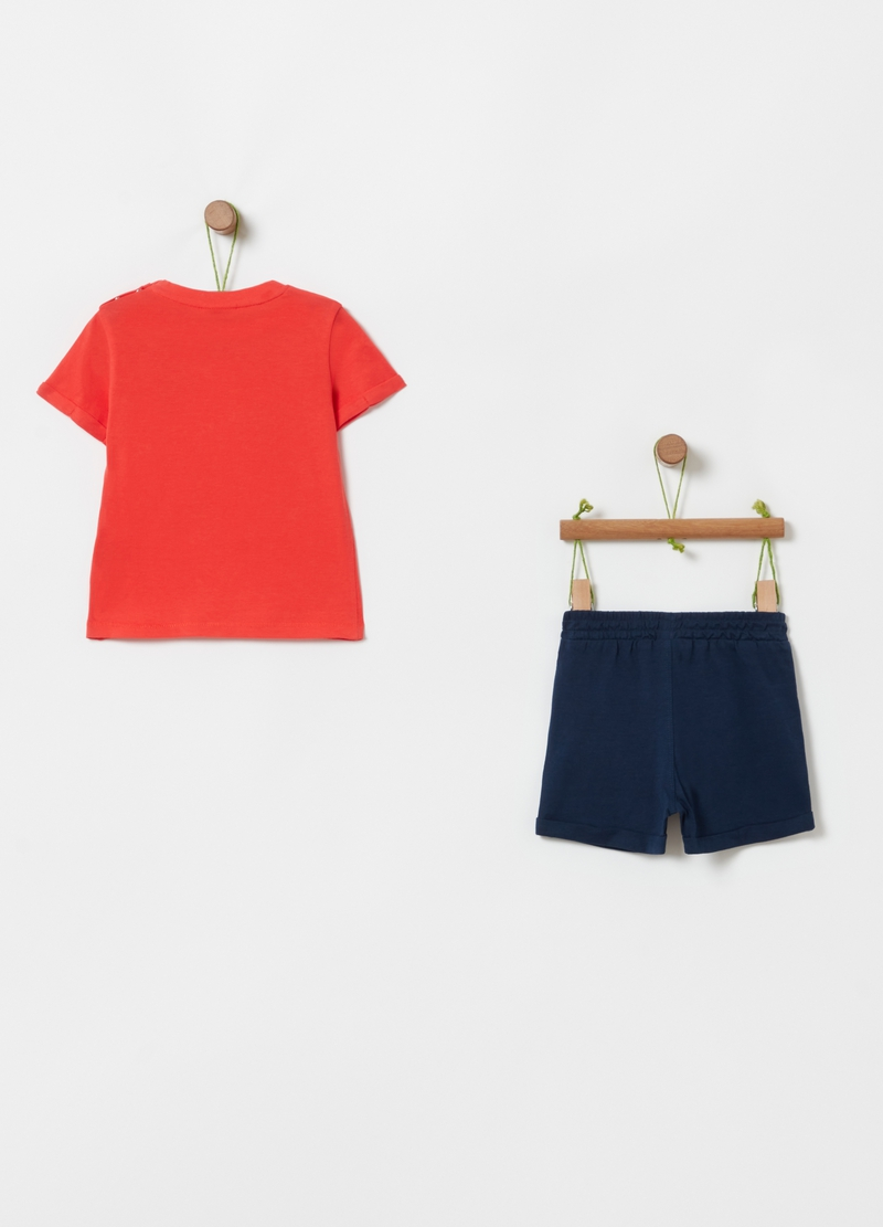 T-shirt and shorts jogging set in organic cotton image number null